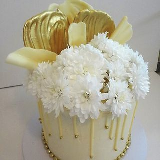 Gold & White Chocolate Drip Cake