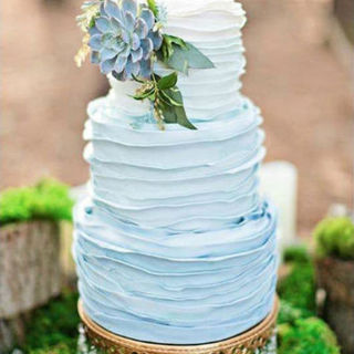 Blue Ombre Ruffle Wedding Cake