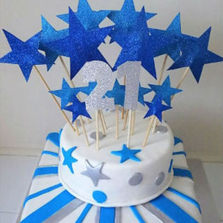Blue, White & Silver Star Cake