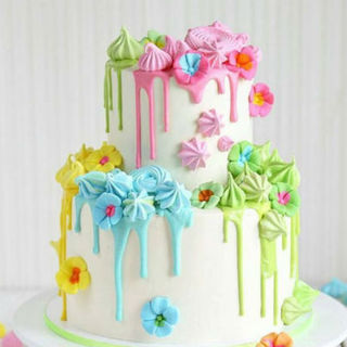 Two Tier Multi Colour Floral Drip Cake