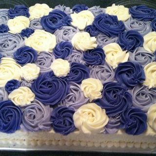 Two Layer Ombre Rosette Cake - Rectangle