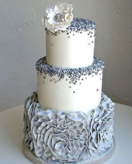 White & Grey Ruffle Beaded Cake