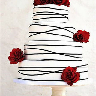 White Wedding Cake with Black Trim & Roses