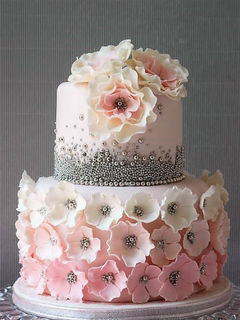 Pink Ombre & Silver Bead Cake