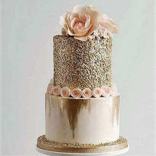 Gold & Apricot Tiered Cake