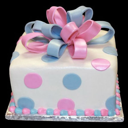 Gift Wrapped Gender Reveal Cake