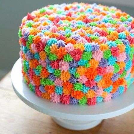 Multicoloured Drop Flower Cake