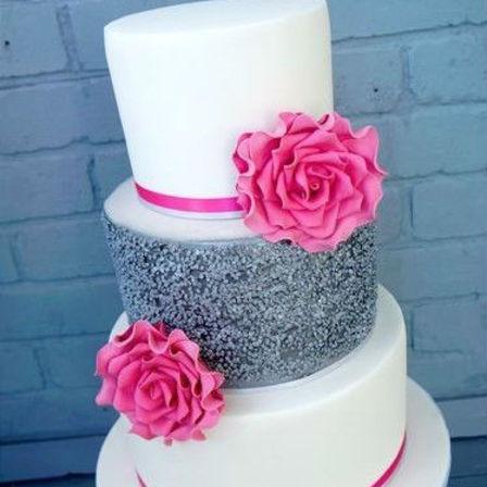 White Silver Pink Cake Cake Bake Kiwi