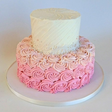 White & Pink Ombre Rosette Cake