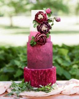 Burgundy Ruffle Wedding Cake